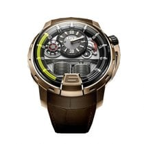 HYT H1 Pink Gold Black Dial Brown Leather Men's Watch