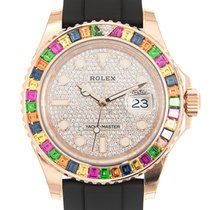 Rolex Yacht Master 18k Rose Gold Silver Automatic 116695SATS