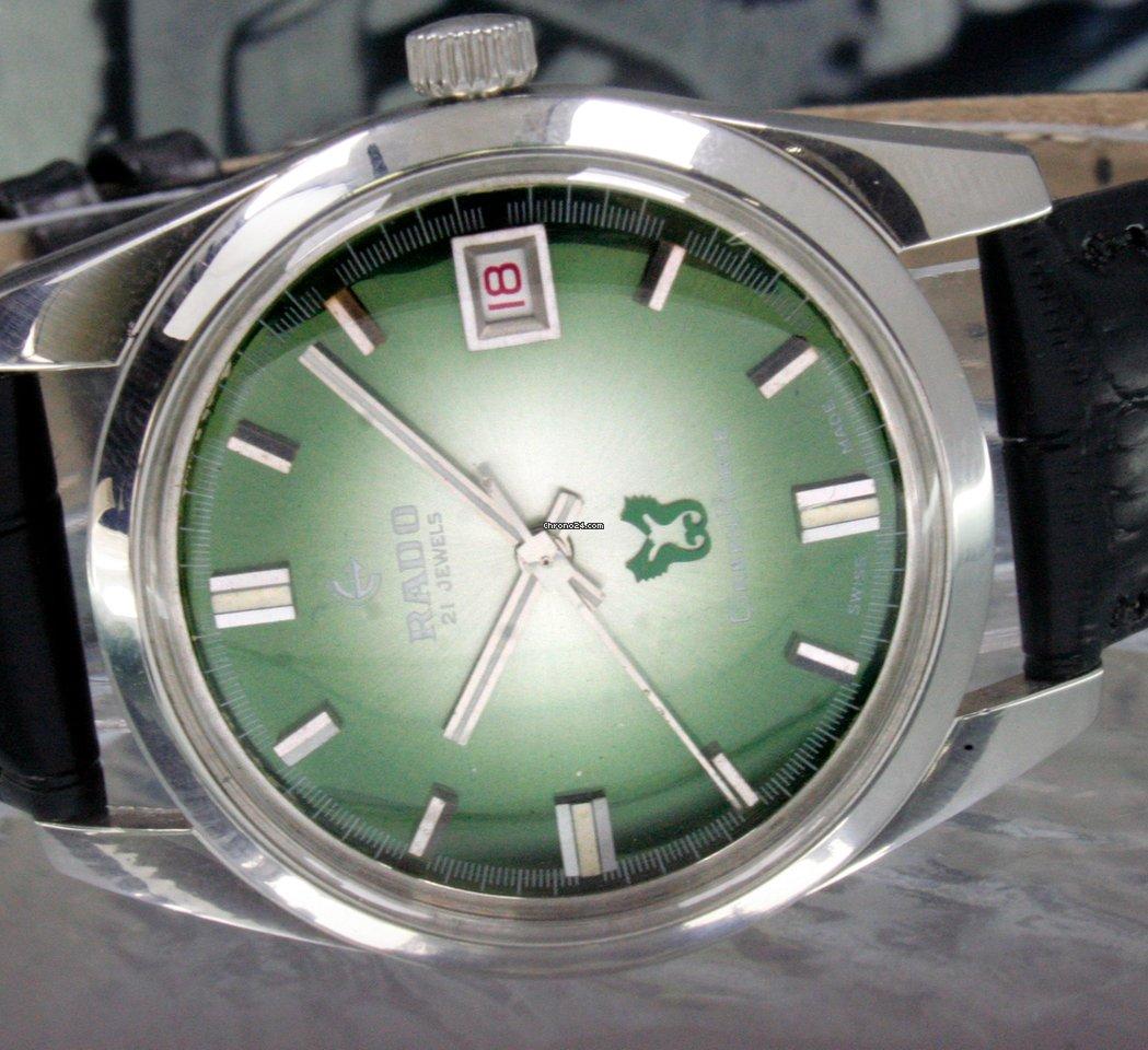 Rado Green Horse Winding Date Original Dial Steel Vintage Wrist