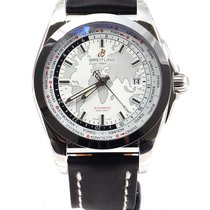 Breitling Galactic Unitime 44mm White Dial Leather Strap NEW