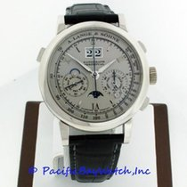 A. Lange & Söhne Datograph pre-owned 40mm Silver Moon phase Chronograph Flyback Date Weekday Month Year 4-year calendar Perpetual calendar Tachymeter Crocodile skin