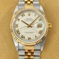 Rolex Datejust Goud/Staal 36mm Champagne Romeins