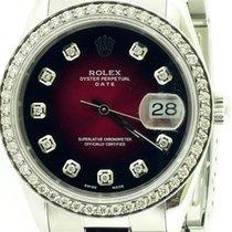 Rolex Oyster Perpetual Date Acier 34mm Rouge Sans chiffres