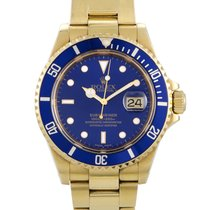Rolex Yellow gold Automatic Blue pre-owned Submariner Date