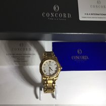 Concord Yellow gold Quartz White Roman numerals 36mm new Saratoga