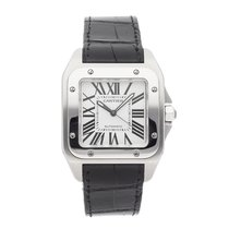 Cartier Santos 100 pre-owned 51.5mm Silver Crocodile skin