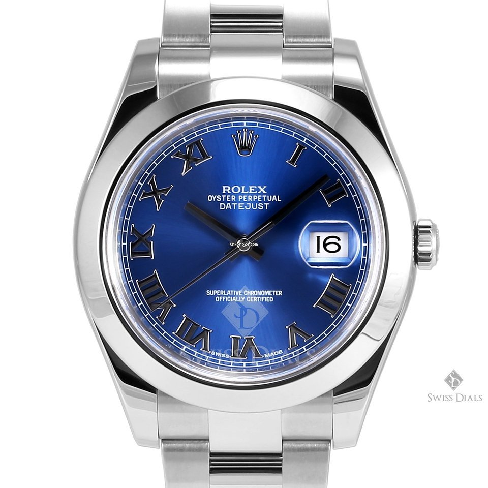Rolex Datejust II Stainless Steel Blue Roman Numeral Dial Smooth Bezel  Oyster Band