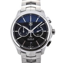 TAG Heuer Link Automatic Chronograph Steel Black Dial Guilloch...