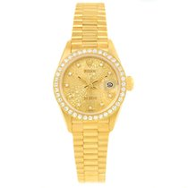 Rolex President 18k Yellow Gold Jubilee Dial Diamond Ladies...