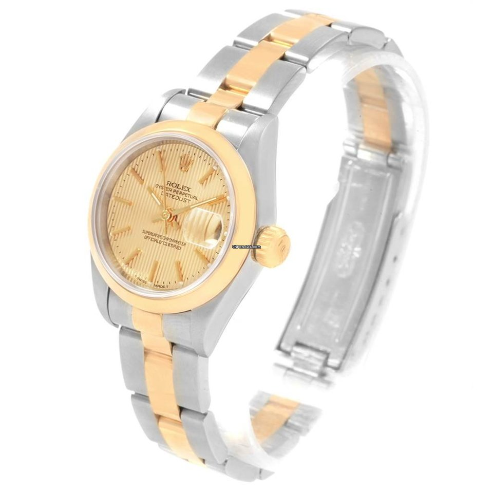 Rolex Datejust Steel Yellow Gold Tapestry Dial Ladies Watch 69163