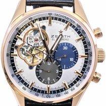 Zenith Rose gold Automatic Silver No numerals 42mm pre-owned El Primero Chronomaster