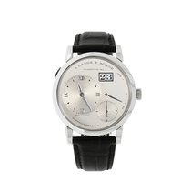 A. Lange & Söhne Lange 1 pre-owned 38.5mm Silver Panorama date Crocodile skin
