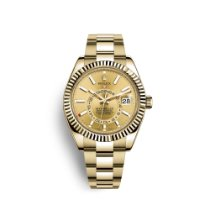 Rolex Sky-Dweller Жёлтое золото 42mm Цвета шампань Без цифр