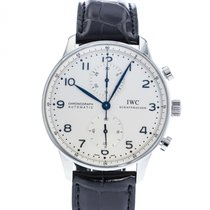 IWC Portuguese Chronograph pre-owned 41mm Silver Leather