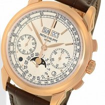 Patek Philippe Red gold Manual winding White No numerals 41mm new Perpetual Calendar Chronograph