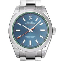 Rolex Milgauss GV Blue Dial Green Crystal Mens 40mm 116400GV