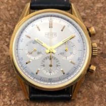 TAG Heuer Yellow gold Manual winding Silver 35,5mm pre-owned Carrera