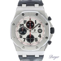 Audemars Piguet Royal Oak Offshore Chronograph tweedehands 42mm Zilver Chronograaf Datum Tachymeter Krokodillenleer