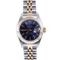 Rolex Ladies 18K/SS Datejust - Blue Stick Marker Dial 69173