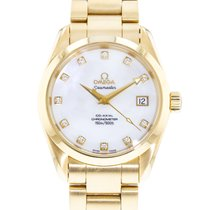 Omega Yellow gold Automatic Mother of pearl 36mm pre-owned Seamaster Aqua Terra
