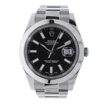 Rolex Datejust II 41 Stainless Steel Black Index Dial Watch...