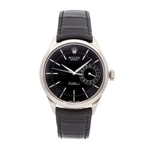 Rolex Cellini Date pre-owned 39mm Black Date Crocodile skin