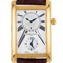 Frederique Constant Caree GMT Gelbgold Quarz Armband Leder...