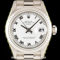 Rolex 18k White Gold White Roman Dial Datejust Ladies 69179