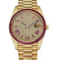 Rolex Day-Date 40mm Yellow Gold Ruby Diamonds Rare 228238
