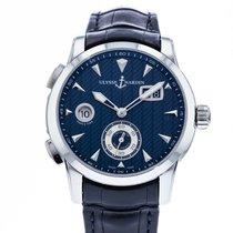 Ulysse Nardin Dual Time gebraucht 42mm Blau Datum GMT/Zweite Zeitzone Leder