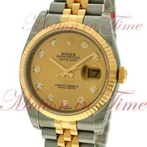 Rolex Datejust 36mm, Champagne Diamond Dial, Fluted Bezel -...