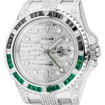 Rolex GMT-Master II Steel Custom Diamond Set Watch with...