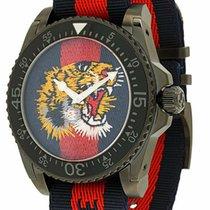dfb710de3 Gucci Dive Blue Red Web Dial Tiger Embroidery Black 45MM Men's.