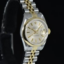 Rolex Oyster Perpetual Lady Date Gold/Stahl 26mm Silber Keine Ziffern