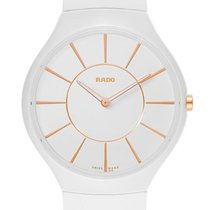Rado True Thinline White Ceramic Womens Strap Watch Quartz...