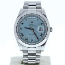 Rolex 41mm Automatic pre-owned Day-Date II Blue