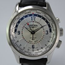 Vulcain Aviator Stal 42mm Srebrny Arabskie