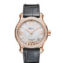 Chopard Ladies 274808-5006 Happy Sport  Rose Gold-Diamond Watch