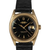 Rolex Vintage 18k Gold Datejust with Black Gilt Dial Ref: 6305