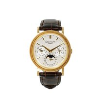 Patek Philippe Yellow gold Automatic White No numerals 35mm pre-owned Perpetual Calendar