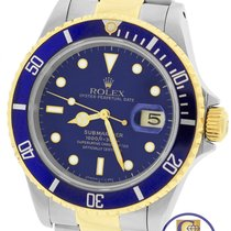 Rolex Submariner Date 16803 Two-Tone Gold Stainless Blue 40mm...