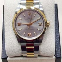Rolex Oyster Perpetual pre-owned 34mm Silver Date Gold/Steel