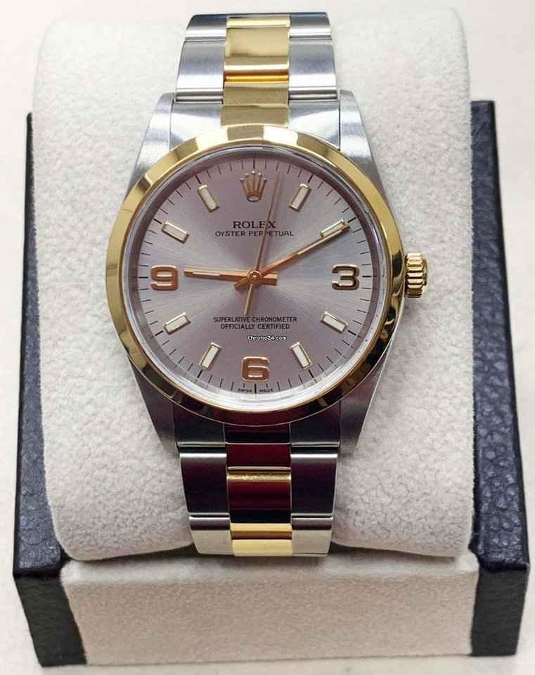 Yellow Rolex Stainless Dial Goldamp; Oyster 14203 Arabic Perpetual 18k Steel sdthxBQrC