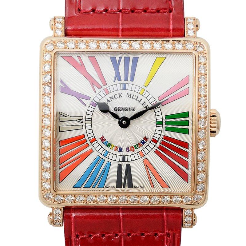 Franck Muller Master Square 18 K Rose Gold With Diamonds Silver Quartz 6002  M B Qz Col Drm R D 1r (5N)