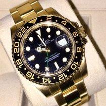Rolex GMT-Master II Жёлтое золото 40mm Чёрный Без цифр