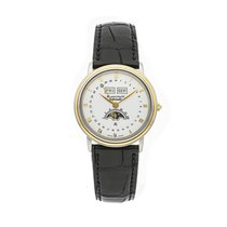 Blancpain Villeret pre-owned 33mm White Moon phase Date Month Crocodile skin