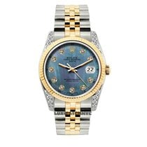 Rolex Date Unisex 34mm Blue Mother Of Pearl Dial Gold And...