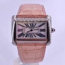 Cartier Steel Quartz Mother of pearl Roman numerals 38mm pre-owned Tank Divan