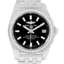 Breitling Galactic 36 Black Dial Diamond Ladies Watch W74330...