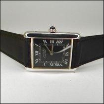 Cartier TANK 925er Silver Black Dial Handaufzug